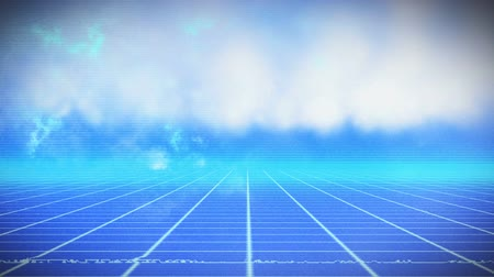 ностальгия : Animation of blue grid moving in seamless loop in hypnotic motion with clouds on blue sky in the background. Video computer game screen and digital interface concept digitally generated image.