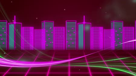 nineties : Animation of pink cityscape over pink grid moving in seamless loop in hypnotic motion with moving stripes of light in the foreground. Video computer game screen and digital interface concept digitally generated image.