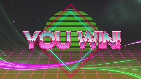 you win : Animation of the words You Win! written in metallic pink letters on pink and green diamond shape with glowing pink grid moving in seamless loop in hypnotic motion and green glowing circle in the background. Video computer game screen and digital interface