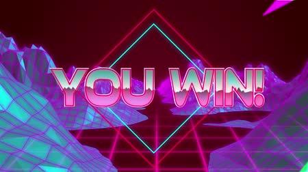 you win : Animation of the words You win! written in metallic pink letters on pink and green diamond shape with glowing topographic map of mountains moving in seamless loop in hypnotic motion and flashes in the foreground. Video computer game screen and digital int Stock Footage