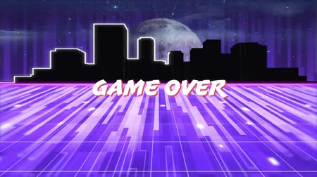 írott : Animation of the words Game Over written in white letters over glowing purple light trails moving in seamless loop with glowing horizontal line, cityscape and moon in the background. Video computer game screen and digital interface concept digitally gener