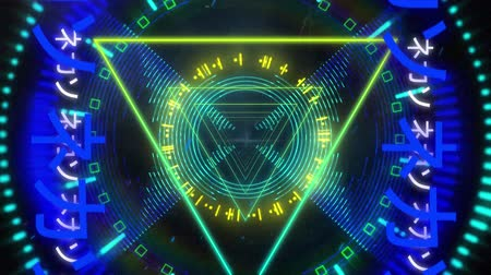 triângulo : Animation of yellow and green glowing pulsating triangles moving in seamless loop in hypnotic motion with glowing blue Asian chinese writing on both sides on black background. Video game screen colour and pattern motion in repetition concept digitally gen