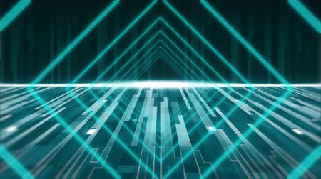 diamantes : Animation of glowing green diamond shapes and light trails moving in seamless loop with glowing horizontal line in the background. Video computer game screen and digital interface concept digitally generated image.