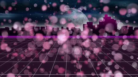 nineties : Animation of pink spots of light over glowing pink grid moving in seamless loop with glowing horizontal line, cityscape and moon in the background. Video computer game screen and digital interface concept digitally generated image.