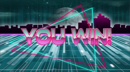 írott : Animation of the words You Win! written in pink metallic letters written over glowing green light trails moving in seamless loop with glowing horizontal line, cityscape and moon in the background. Video computer game screen and digital interface concept d Stock mozgókép