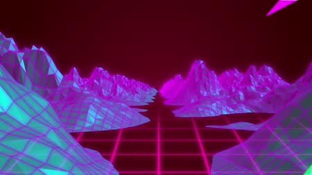 blikat : Animation of multi coloured flashes over digital landscape with mountains and pink grid moving in seamless loop in hypnotic motion on red background. Video computer game screen and digital interface concept digitally generated image. Dostupné videozáznamy