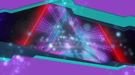 triângulo : Animation of red, blue and purple glowing pulsating triangles moving in seamless loop in hypnotic motion on black background. Abstract colour and pattern motion in repetition concept digitally generated image.