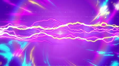 ностальгия : Animation blue, pink and yellow glowing pulsating rays moving in seamless loop in hypnotic motion with yellow and pink electric waves in the middle on purple background. Abstract colour and pattern motion in repetition concept digitally generated image.