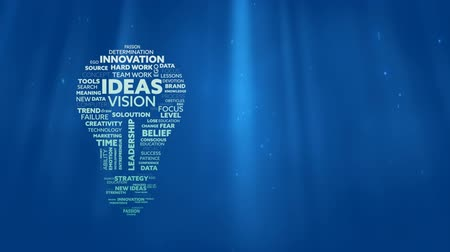 megtöltött : Animation of lightbulb shape filled with words creativity, ideas, initiative, courage written in white and green letters over glowing blue background. Global networking growth and brainstorming concept digitally generated image.