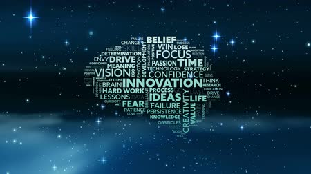 initiatief : Animation of brain shape filled with words creativity, ideas, initiative, courage written in white and green letters over sky with stars at night in the background. Global networking growth and brainstorming concept digitally generated image.