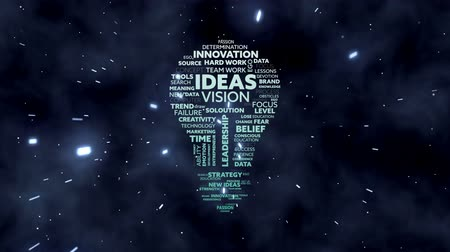megtöltött : Animation of lightbulb shape filled with words creativity, ideas, initiative, courage written in white and green letters over sky with stars at night in the background. Global networking growth and brainstorming concept digitally generated image.
