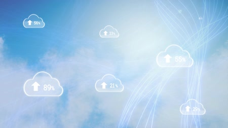 por cento : Animation of clouds with percent increasing from zero to one hundred over blue waving lines and moving clouds on blue sky in the background. Cloud computing global technology networking concept digitally generated image.