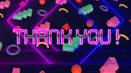 написанный : Animation of the words Thank You! in pink metallic letters written over pulsating diamond shapes rows of abstract shapes spinning in formation moving in seamless loop in hypnotic motion on black background. Video computer game screen and digital interface