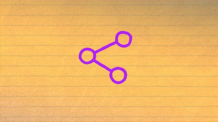 цифровой сформированный образ : Animation of a purple share icon hand drawn with a marker on yellow ruled paper in the background. Digital computer interface and networking communication concept digitally generated image.
