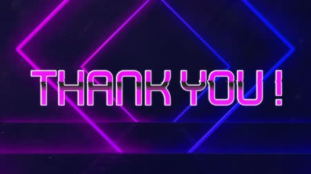 list : Animation of the words Thank You! in pink metallic letters written over pulsating diamond shapes moving in seamless loop in hypnotic motion on black background. Video computer game screen and digital interface concept digitally generated image.