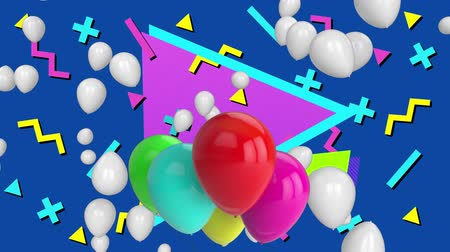brilhantemente : Animation of group of red, pink, green and blue balloons with white multiple balloons floating in distance over brightly coloured shapes on blue background. Celebration birthday party concept digitally generated image.