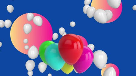 градиент : Animation of group of red, pink, green and blue balloons with white multiple balloons floating in distance over gradient orange to pink spheres on blue background. Celebration birthday party concept digitally generated image. Стоковые видеозаписи