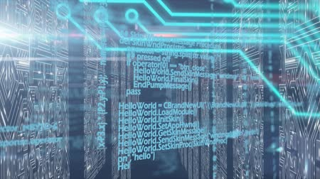 sharing : Animation of computer circuit board, data processing over computer processors in a tech room in the background. Global technology database and data processing concept digitally generated image.
