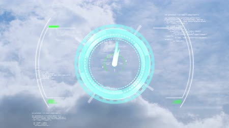 zegar : Animation of clock moving fast, scope scanning and data processing over clouds on blue sky in the background. Cloud computing global technology networking concept digitally generated image.