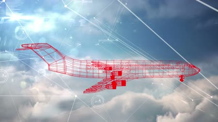rajzoló : Animation of 3d red airplane technical drawing spinning with networking of connections of air traffic control navigation system over clouds moving in fast motion in the background, Global travel technology and data processing concept digitally generated i