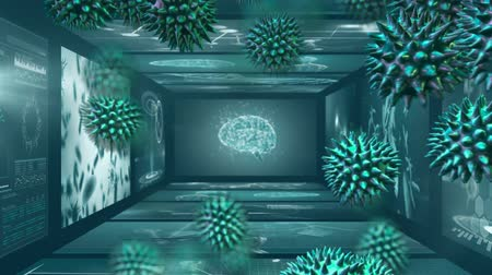 baktériumok : Animation of macro green coronavirus cells flowing and spreading over screens of medical scans with brain and DNA strands in the background. Medicine public health pandemic coronavirus outbreak concept digitally generated concept. Stock mozgókép