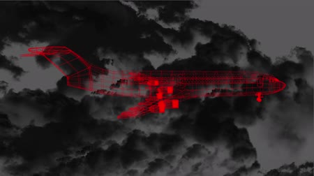 rajzoló : Animation of 3d red airplane technical drawing spinning with lightnings striking during a thunderstorm over dark clouds moving in the background, Global travel technology and data processing concept digitally generated image. Stock mozgókép