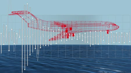 rajzoló : Animation of 3d red airplane technical drawing spinning with data processing and scope scanning of air traffic control navigation system over sea and blue sky in the background, Global travel technology and data processing concept digitally generated imag