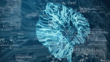 контур : Animation of 3d digital human brain made of computer circuit board with light trails and spinning over data processing in the background. Medicine neurology digital information concept digitally generated image.