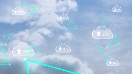 por cento : Animation of clouds with percent increasing from zero to one hundred with flickering green triangles over clouds on blue sky in the background. Cloud computing global technology networking concept digitally generated image. Stock Footage