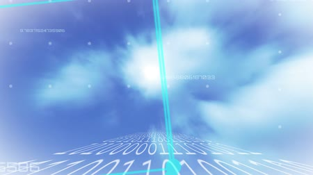 кодирование : Animation of turquoise cube rotating and string of white numbers binary coding moving fast over clouds on blue sky in the background. Cloud computing global technology networking concept digitally generated image.