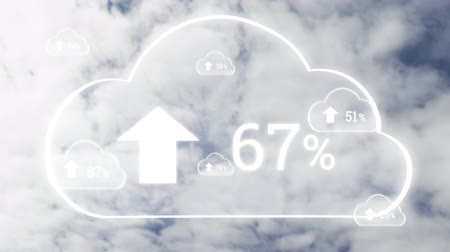 por cento : Animation of clouds with percent increasing from zero to one hundred over fast moving clouds on blue sky in the background. Cloud computing global technology networking concept digitally generated image.