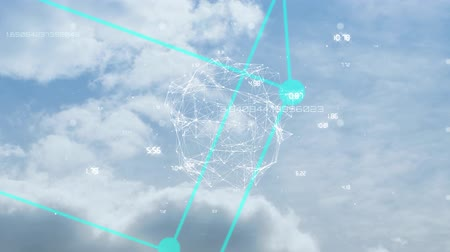 küpleri : Animation of turquoise cube rotating, globe with network of connections spinning over moving clouds on blue sky in the background. Cloud computing global technology networking concept digitally generated image.