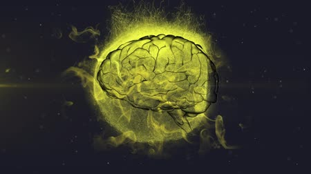 psikoloji : Animation of 3d human brain rotating in seamless loop over glowing yellow globe exploding with particles and clouds on purple background. Medicine neurology and global explosion concept digitally generated image.