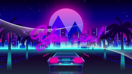 you win : Animation of the words You Win! in pink neon letters with back of a car driving on palm tree lined highway with cityscape and pink glowing moon in the background. Video computer game screen and digital interface concept digitally generated image. Stock Footage