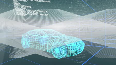 navigáció : Animation of 3d blue car technical drawing spinning with data processing and scope scanning of navigation system over grid in the background, Global travel technology and data processing concept digitally generated image.