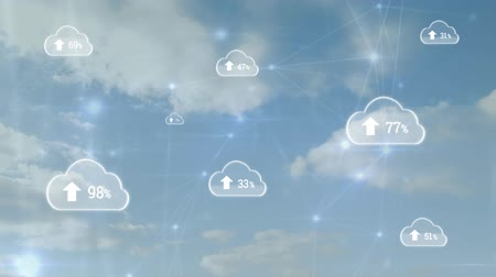 yüzde : Animation of clouds with percent increasing from zero to one hundred with network of connections moving over clouds on blue sky in the background. Cloud computing global technology networking concept digitally generated image.