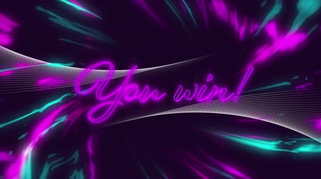 lettres : Animation of the words Challenge Accepted! in pink neon letters written over spinning purple and blue rays of colourful light moving in seamless loop in hypnotic motion on purple background. Video computer game screen and digital interface concept digital