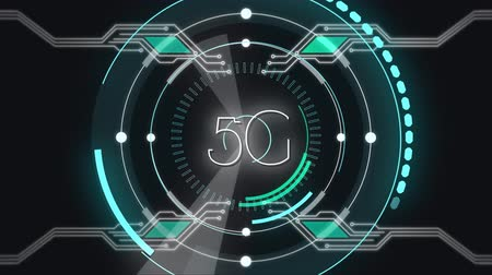 контур : Animation of 5G written in white letters with scope scanning, data recording and computer processor circuit board elements on black background. Digital computer interface communication and connection concept digitally generated image.