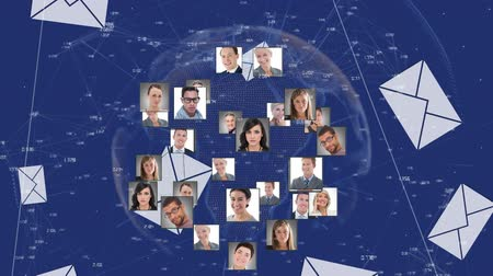 şekillendirme : Animation of networks of connections of multiple photos forming a globe and spinning, message interface icons falling on blue background. Digital computer interface communication and connection concept digitally generated image.