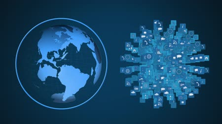 şekillendirme : Animation of blue globe and networks of connections of multiple interface icons forming a globe spinning together on blue background. Digital computer interface communication and connection concept digitally generated image.
