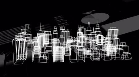 social change : Animation of data processing and statistics recording with a 3d architectural model of a modern city spinning on black background. Digital computer interface communication and connection concept digitally generated image.
