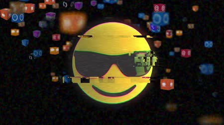 risonho : Animation of cool emoji icon with sunglasses with multiple computer interface icons flying up on black background. Digital computer interface communication and connection concept digitally generated image. Vídeos