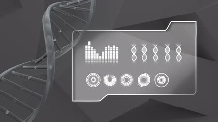 bioquímica : Animation of double helix DNA strand spinning with data processing and statistics recording on grey background. Digital computer interface science communication and connection concept digitally generated image. Vídeos