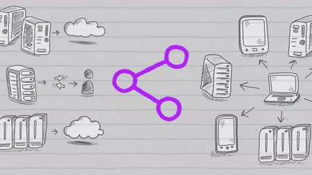 desenhada à mão : Animation of purple outlined share icon hand drawn with a marker with multiple icons hand drawn on lined paper. Global digital communication and social networking concept digital composite.