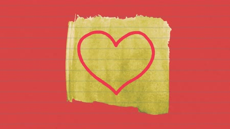 mani disegnate : Animation of red outlined heart icon hand drawn with a marker on torn yellow lined paper on red background. Global digital communication and social networking concept digital composite. Filmati Stock