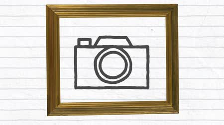 sharing : Animation of black outlined camera icon drawn with a marker on white lined paper in wooden frame. Global digital communication and social networking concept digital composite.