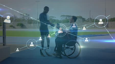 végtag : Animation of network of connections, data processing, male disabled athletes with prosthetic legs and in a wheelchair walking using a smartphone at a sports stadium in the background. Global sport disability and technology statistics data processing conce