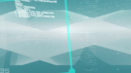 futuristický : Animation of turquoise cube spinning around with data processing, white mesh of information flowing on blue background. Global technology and information concept digitally generated image.