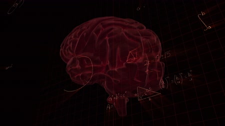 psikoloji : Animation of 3d glowing human brain rotating in seamless loop over scientific mathematical formulae hand written on dark background. Medicine neurology and global science concept digitally generated image. Stok Video