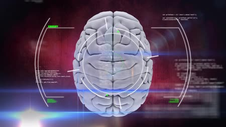 futuristický : Animation of 3d human brain with scope scanning over medical data processing and recording on glowing red background. Medicine neurology and global scientific data processing concept digitally generated image. Coronavirus Covid19 testing